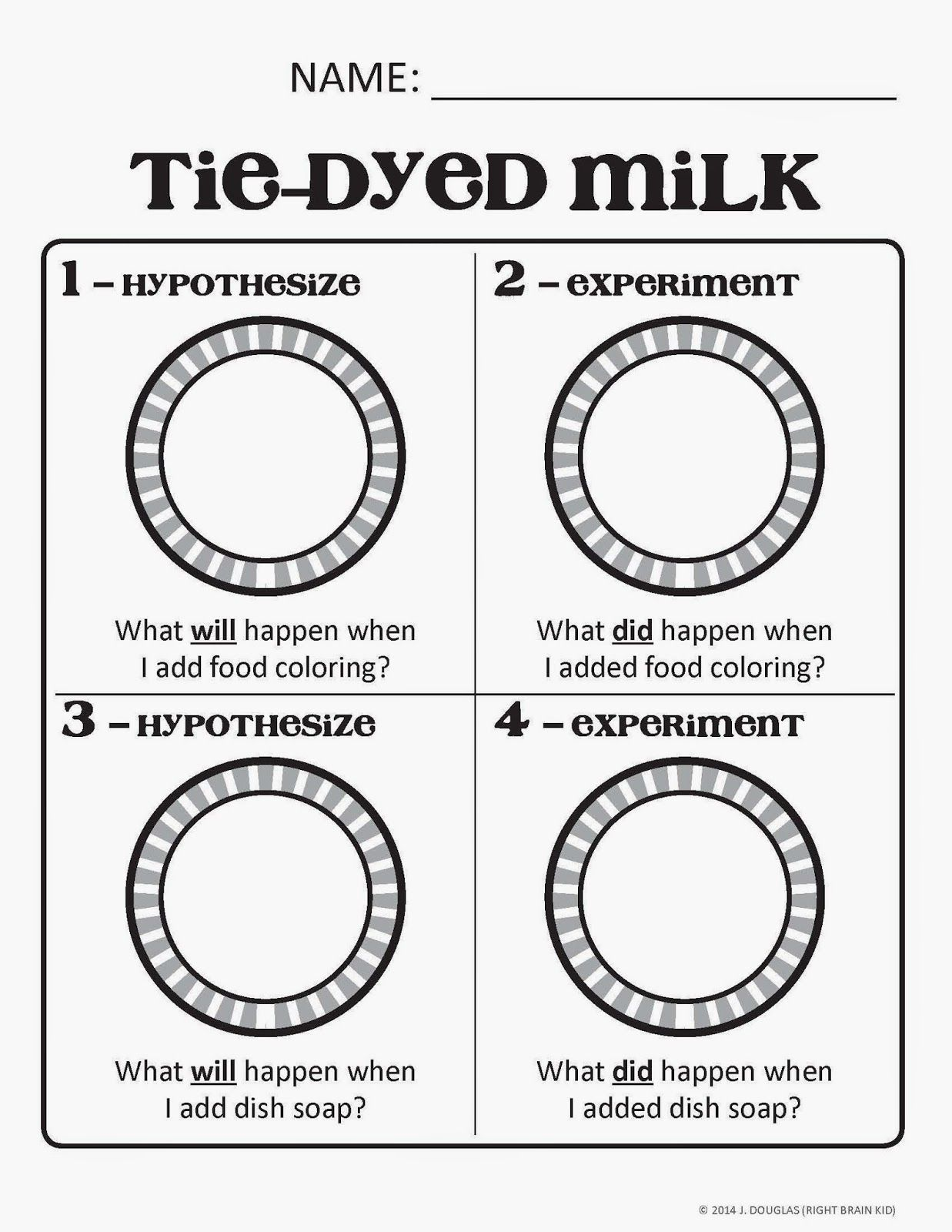 Activity Sheet To Go With The Milk And Food Coloring Experiment