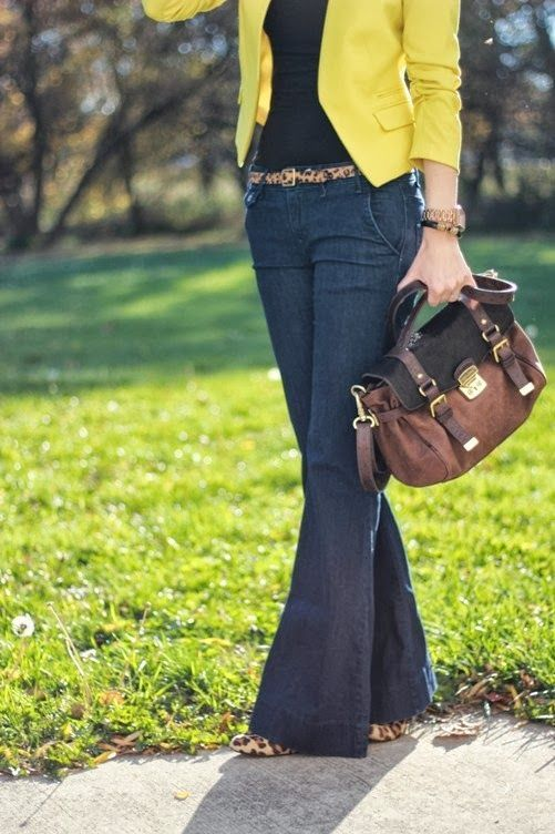 denim trouser pants, leopard belt, black shirt, mustard cardigan, leopard flats, brown,black bag
