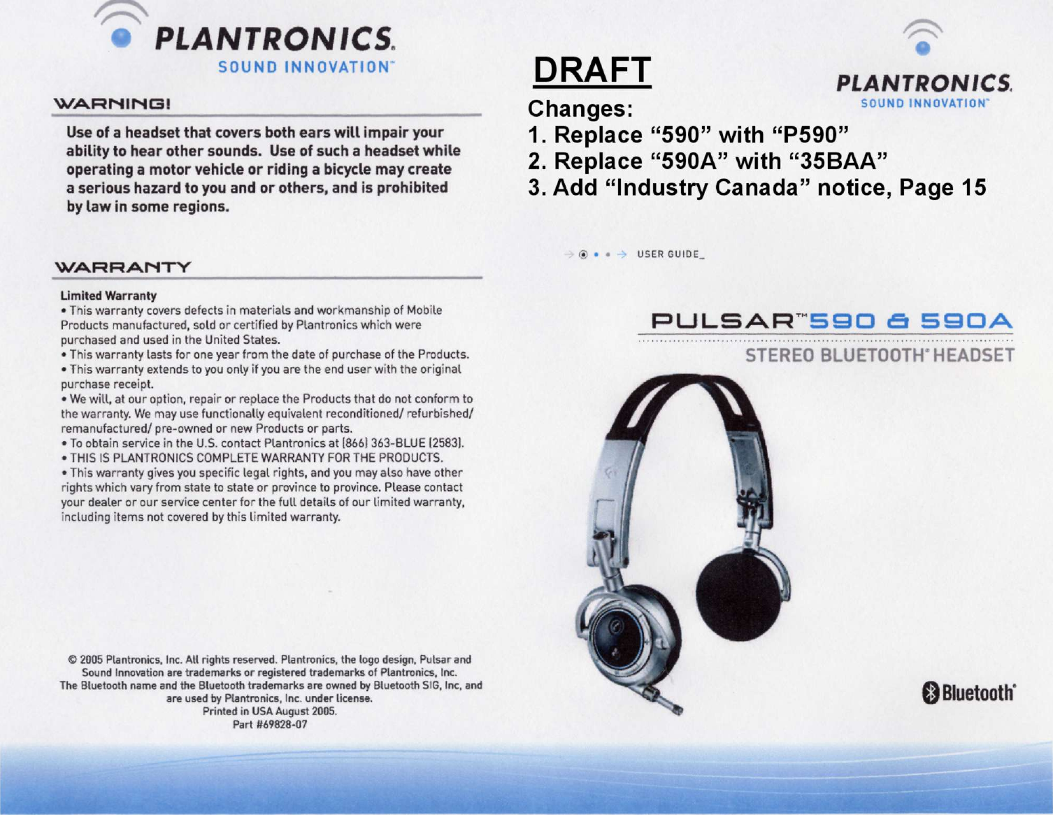 Page 1 Of P590 Bluetooth Headset User Manual Plantronics Inc