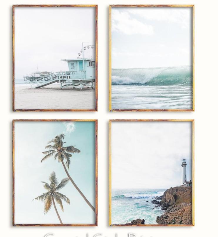 Coastal Print Set Set Of 4 Prints Wall Artprintswall Decor Etsy Beach Decor Coastal Pictures Beach House Decor Wall art for beach house