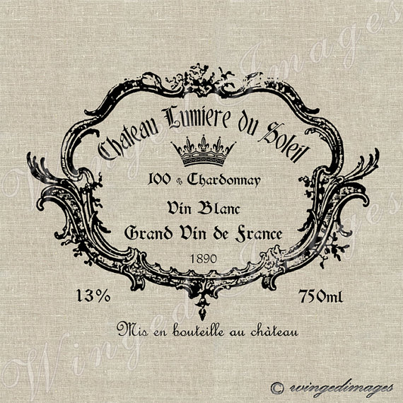 Vintage French Wine Label Instant Download Digital Image No 27 Iron