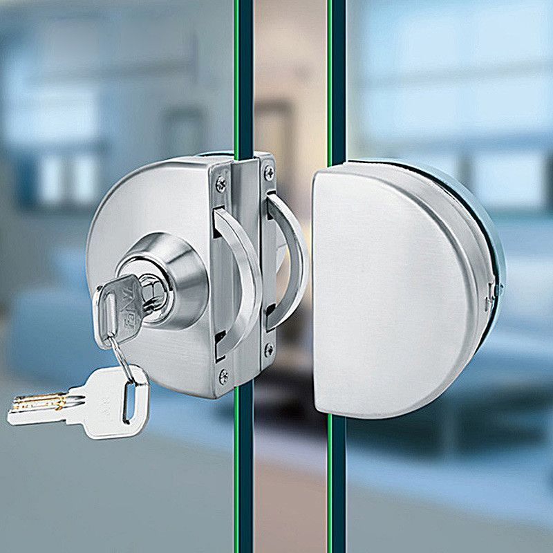 No Punch Glass Door Lock Frameless Framed Doors Stainless Steel Double Locks Mute Clip