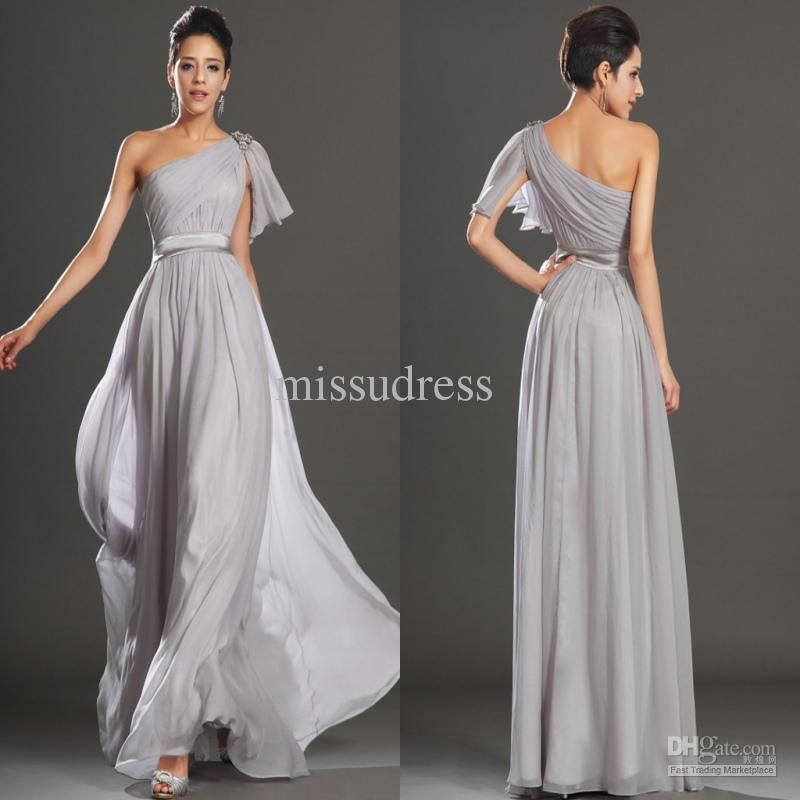 Whole Gray One Shoulder Long Chiffon Bridesmaid Dress Formal Evening Gowns Free Shipping 89 6 112 0 Piece Dhgate