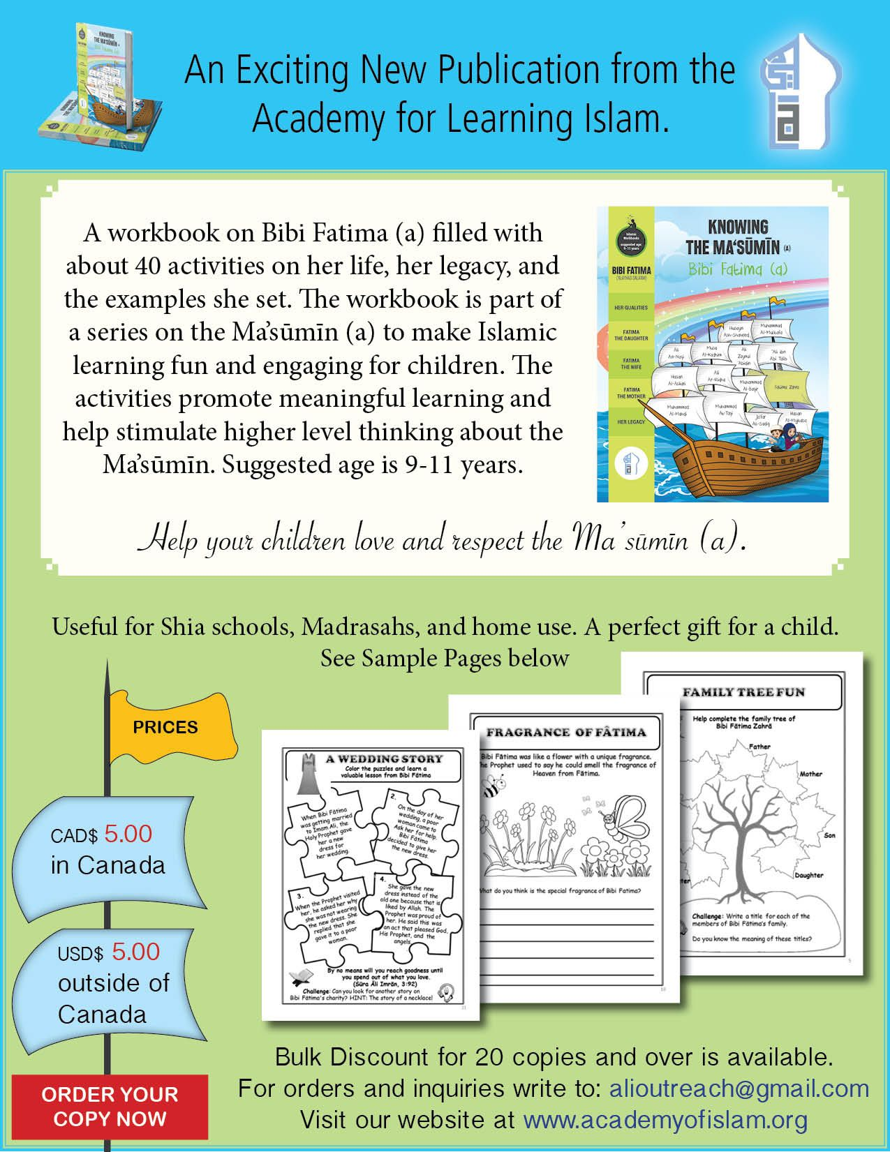 Workbook For Learning About Bibi Fatima Ages 9 11 Years