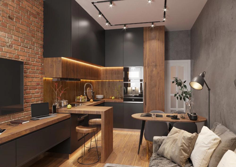 Mala Kawalerka Z Ceglanymi Scianami Aranzacja Wnetrz Portal Wnetrzarski Galeria Insp Kitchen Room Design Kitchen Design Small Kitchen Inspiration Design