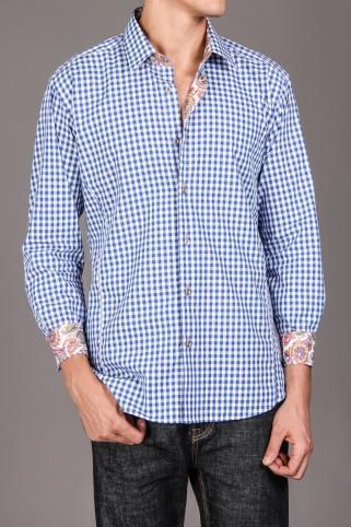 Jared Lang Mens Woven Shirt with Contrast Collar and Cuff - JackThreads