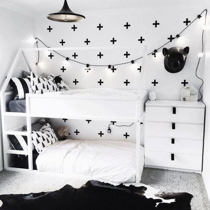 Kura Bett Von Ikea Fur Ein Geteiltes Kinderzimmer Schwarz Weiss Fur