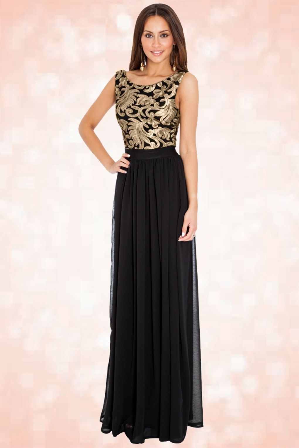 S scarlet gold maxi dress in black vintage chic kleding
