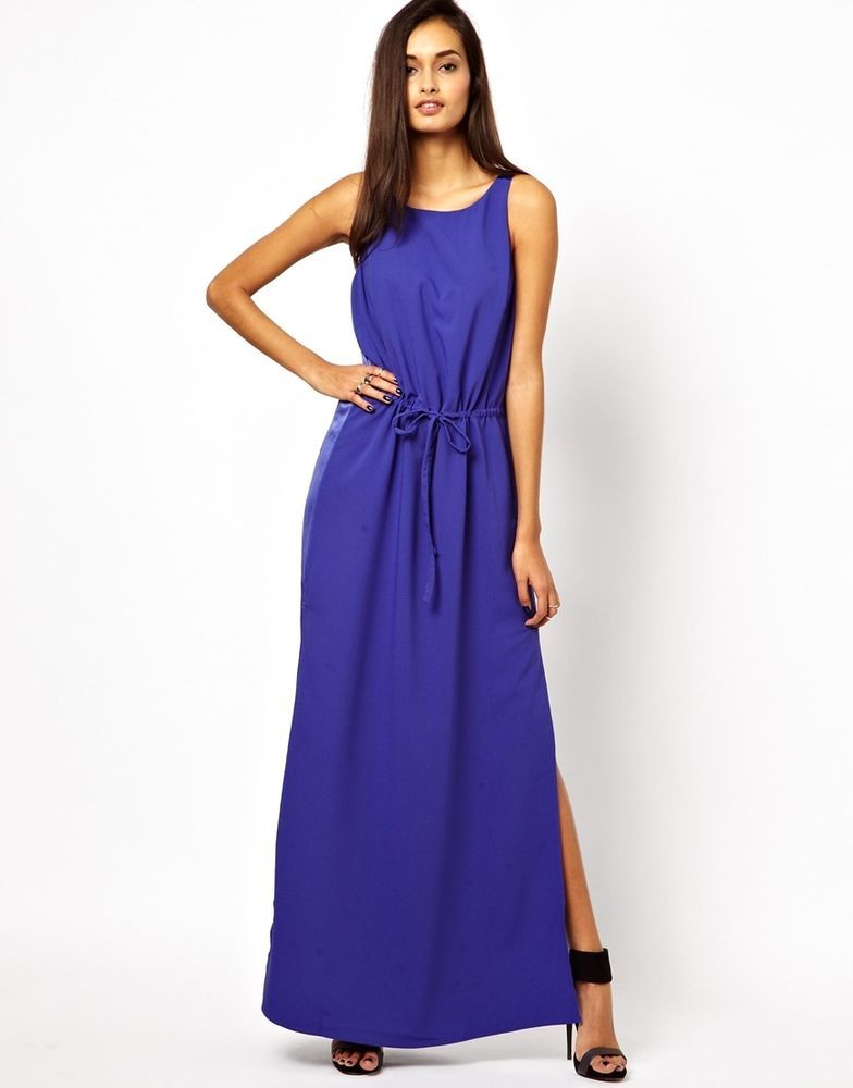Finders Keepers Dreamland Maxi Evening Dress Royal Blue Size S UK 10 ...