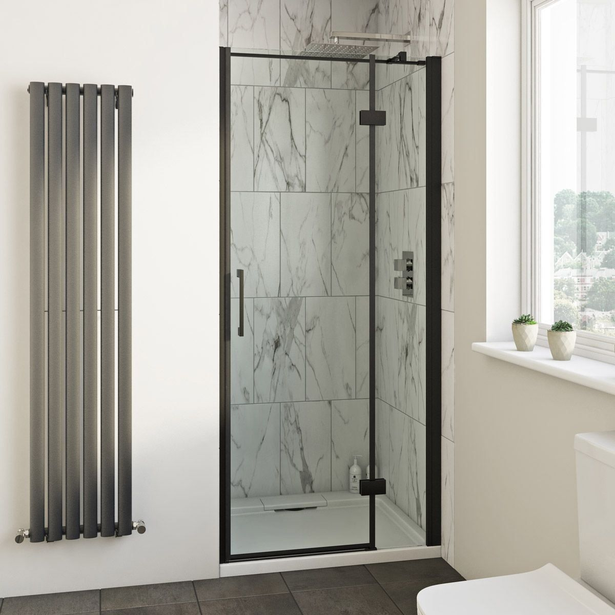 Mode Cooper Black Hinged Easy Clean Shower Door 1000 In 2020 Easy Clean Shower Clean Shower Doors Shower Doors