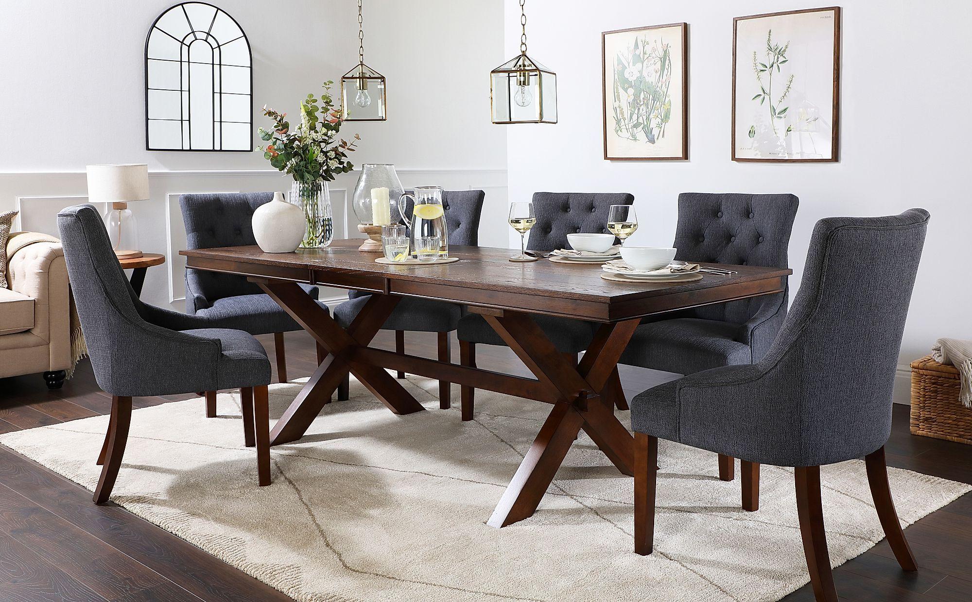 Grange Dark Wood Extending Dining Table With 8 Duke Slate Fabric