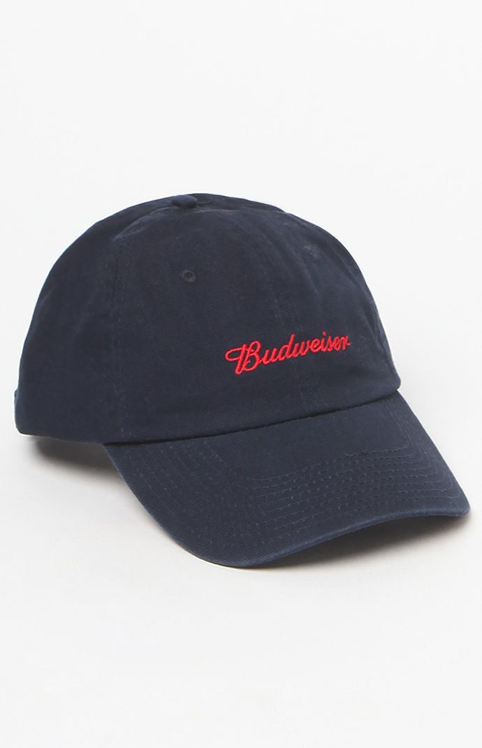 x Budweiser Navy   Red Strapback Dad Hat  d3c249b0ad8