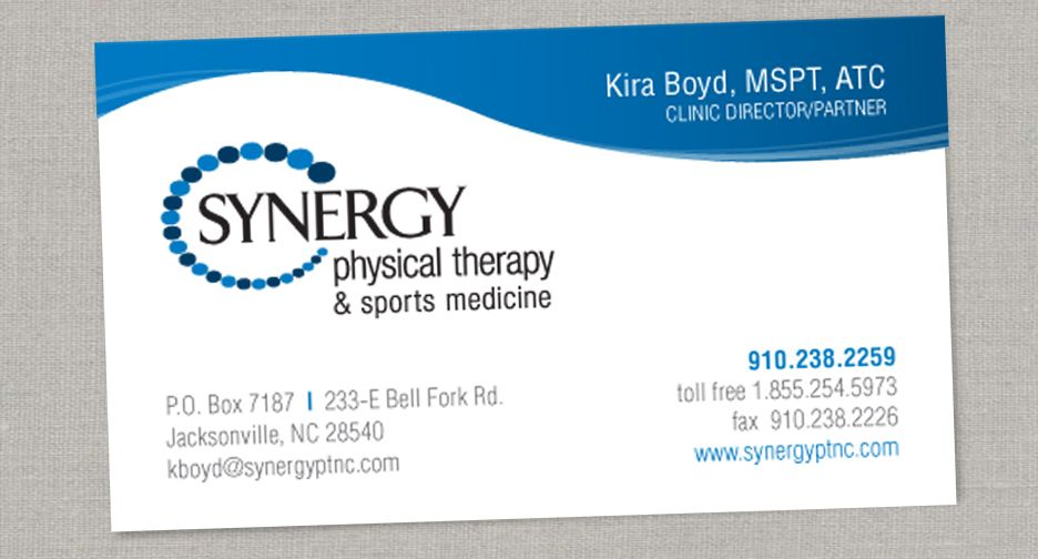 Synergy Physical Therapy Logo Business Card Design Audrey Chandler Business Card Logo Design Physical Therapy Business Physical Therapy
