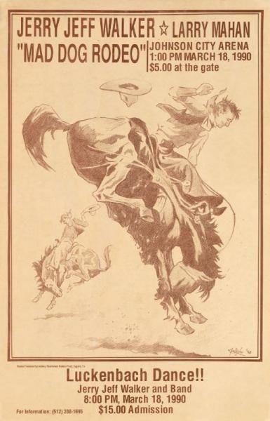 Rodeo Cowboy Print Jerry Jeff Walker My Favorite Rodeo Poster Cowgirl Art Western Art