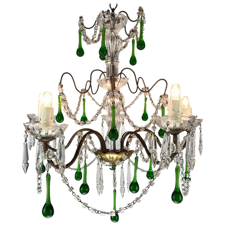 Vintage italian five light crystal chandelier with green crystal vintage italian five light crystal chandelier with green crystal drops 1970s aloadofball Images