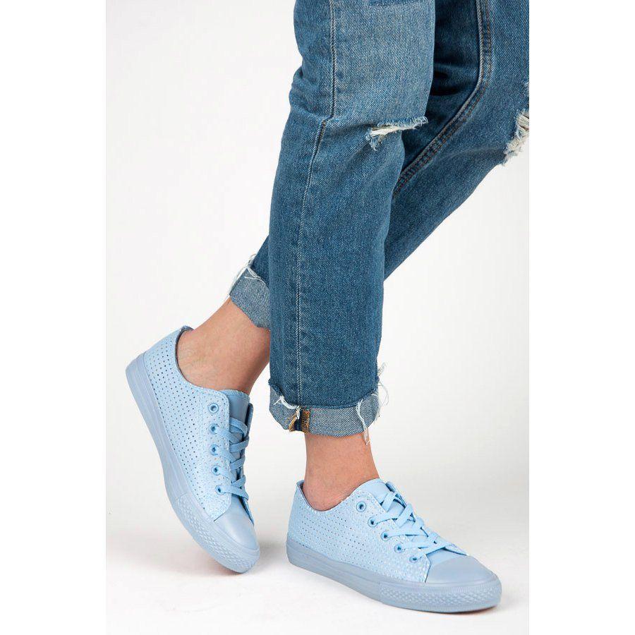 Kylie Azurowe Trampki Na Wiazanie Niebieskie Sneakers Trainers Women Openwork