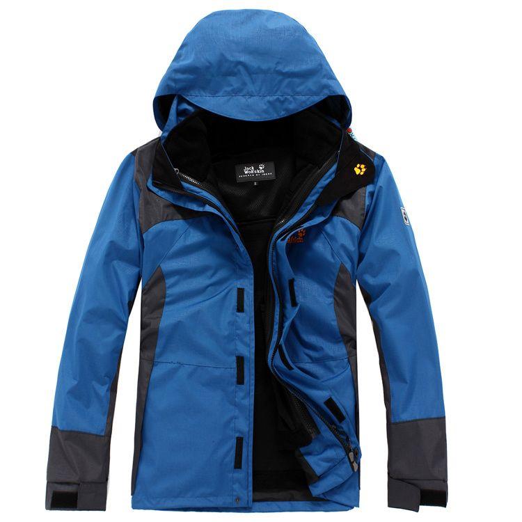 Jack Wolfskin Men Thicken Texapore Hiking Hoodie Jackets Blue Jackets Outdoor Jacket Hiking Outfit
