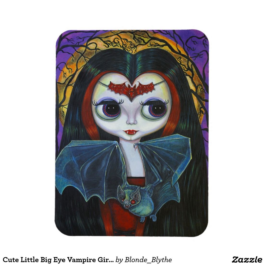 Cute Little Big Eye Vampire Girl with Bat Rectangular Photo Magnet