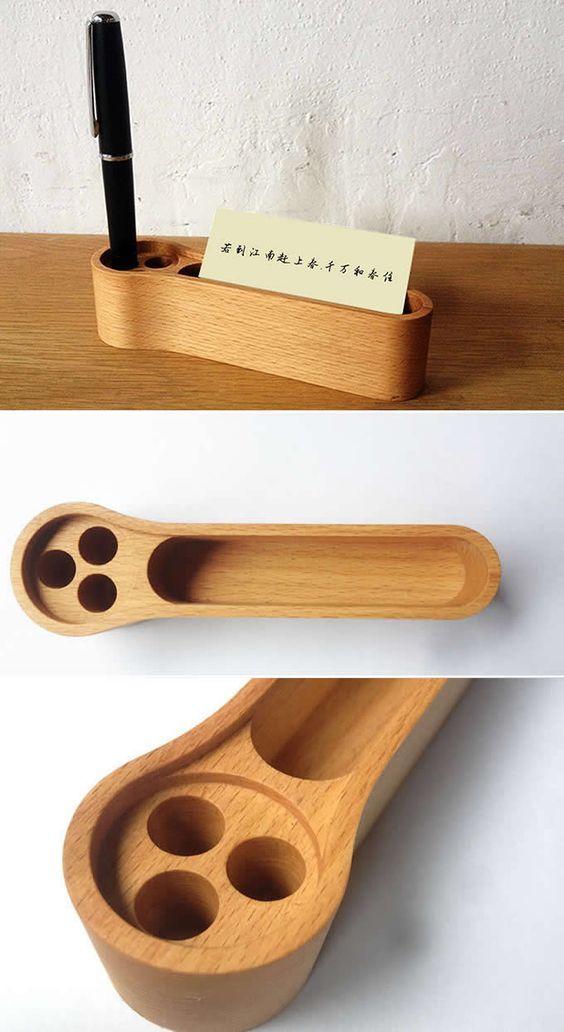 Wooden Pen Pencils Holder Business Card Stand Holder Desk Organizer ...