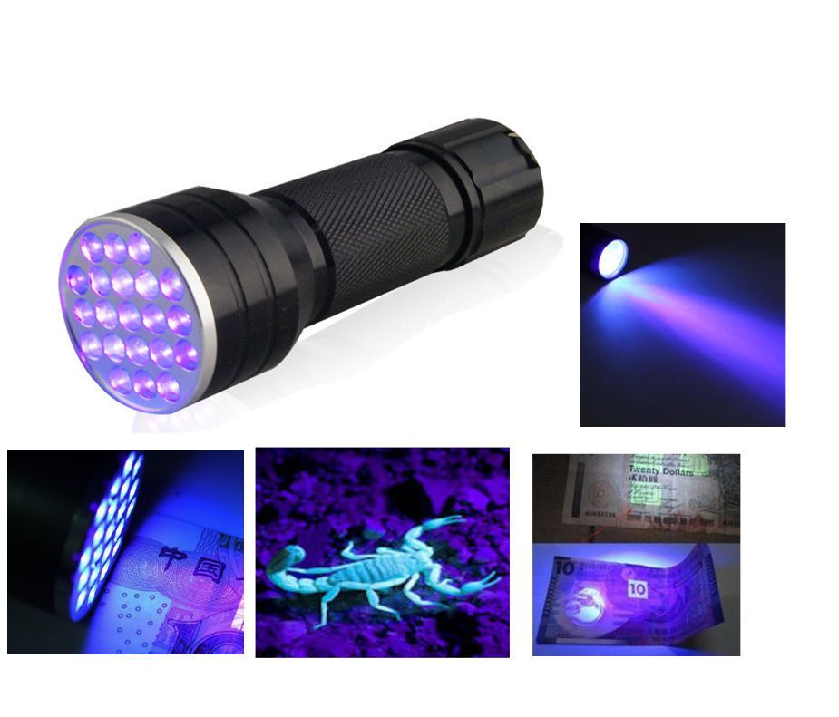 UV Ultra Violet 21 LED Flashlight Mini Blacklight Aluminum Torch Light Lamp PO