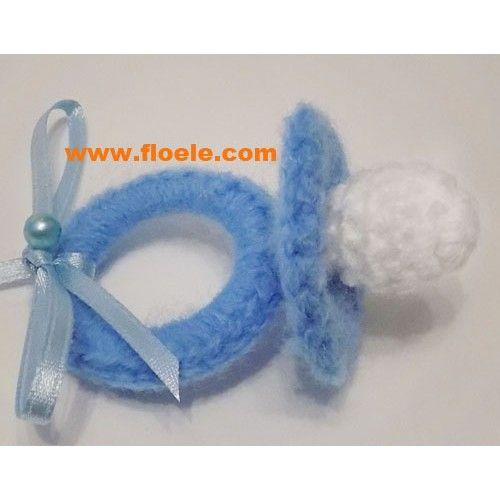Marturii Botez Deosebite Handmade Suzeta Crosetata Bleu Pt