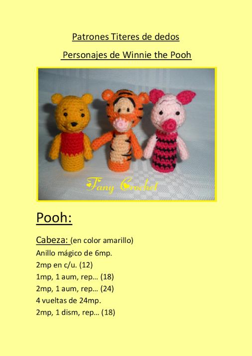 Patron titeres de dedo personajes de winnie the pooh | crochet ...