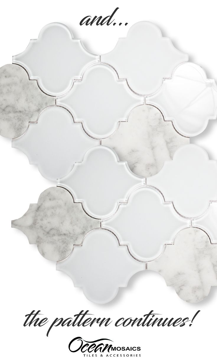 Such a unique combination of clear and frosted glass pieces mixed with  carrara marble in stunning Arabesque Moroccan shape | Clover Arabesque  Blanco Mosaic ...