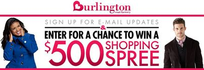 Win A 500 Shopping Spree From Burlington Coat Factory Just Sign Up For E Mail Updates To Enter The Promo Us Clothing Coupons Shopping Burlington