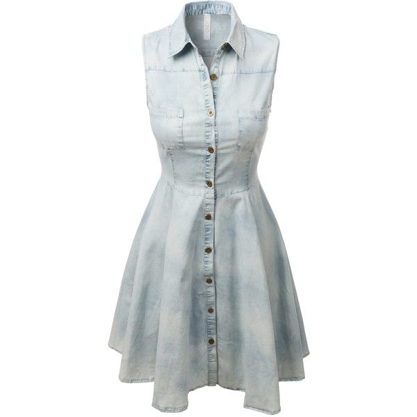 LE3NO Womens Sleeveless Chambray Denim Flared Dress (€31) ❤ liked on Polyvore featuring dresses, button front sleeveless dress, chambray dress, pocket dress, button front denim dress and sleeveless dress