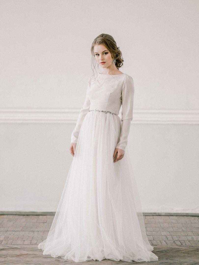 Belinskaya Design Studio long-sleeve wedding dress #modest #tznius ...