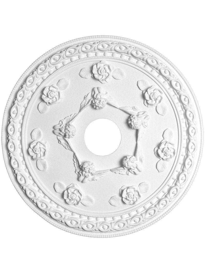Cherub 22 3 16 Ceiling Medallion With 4 Center Hole Ceiling Medallions Cherub Antique Hardware