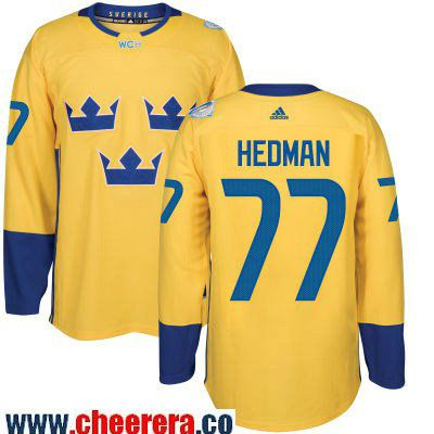 Men s Team Sweden  77 Victor Hedman adidas Yellow 2016 World Cup of Hockey  Custom Player Stitched Jersey eb4a8dbb1