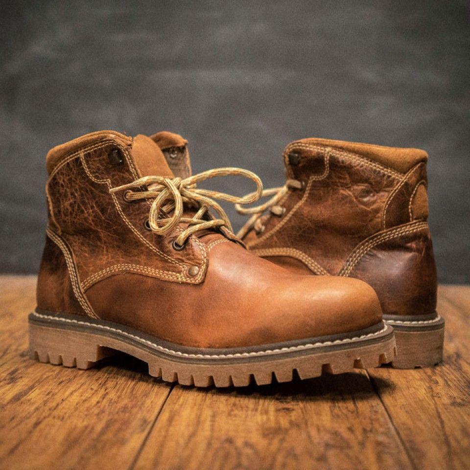 Montana Men's Buffalo Leather Hiking Boots Tan Buffalo