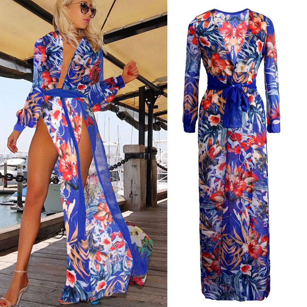 66ec4782e4d 2015 Summer Women Sexy Swimsuit Cover Up Chiffon Plus Size Swimwear Bikini Cover  Ups Flower Dress Long Beach Cover Up Za15723-in Cover-Ups from Women s ...