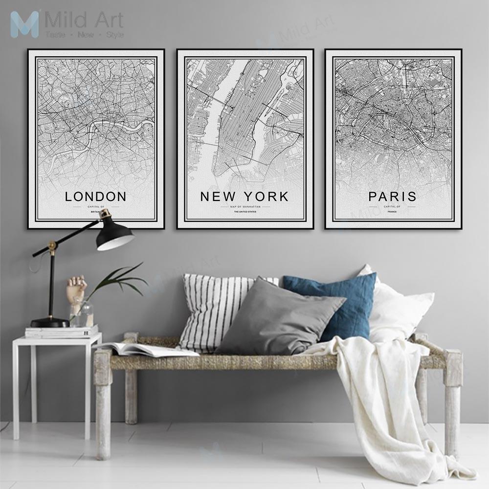 Map Famous City Landon Paris Milan Black Wall Art Poster Canvas Painting Decor