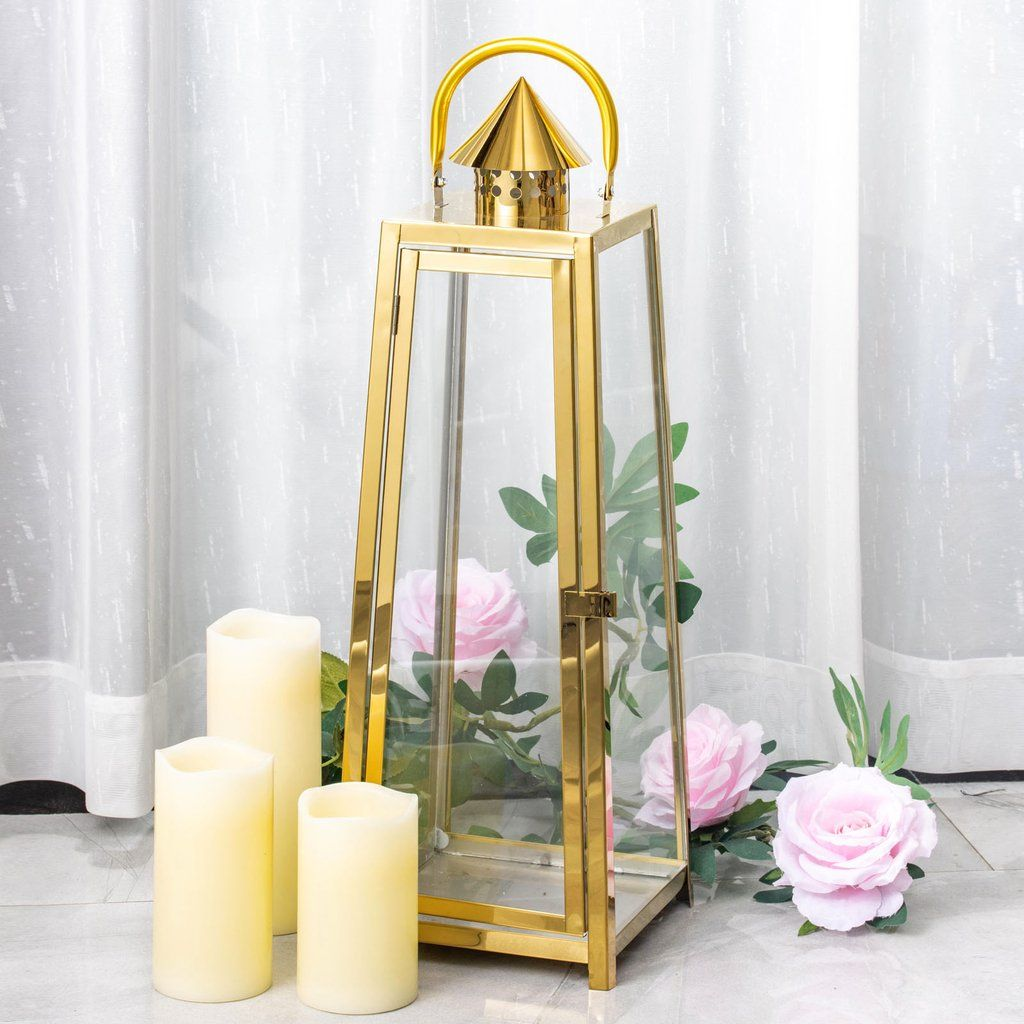 22 Gold Cone Top Stainless Steel Metal Lantern Centerpieces Outdoor Candle Lanterns In 2020 Outdoor Candle Lanterns Candle Lanterns Hanging Candle Lanterns