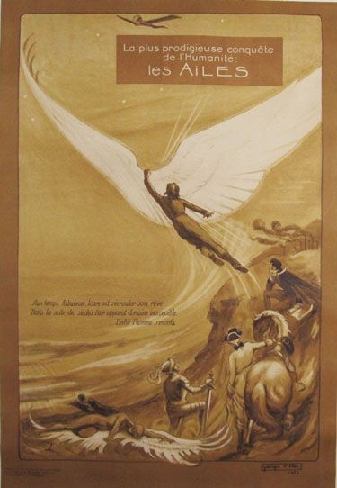 Les Ailes original advertising lithography transportation antique poster by Georges Villa from 1922 France   Vintage posters. Vintage advertising ...