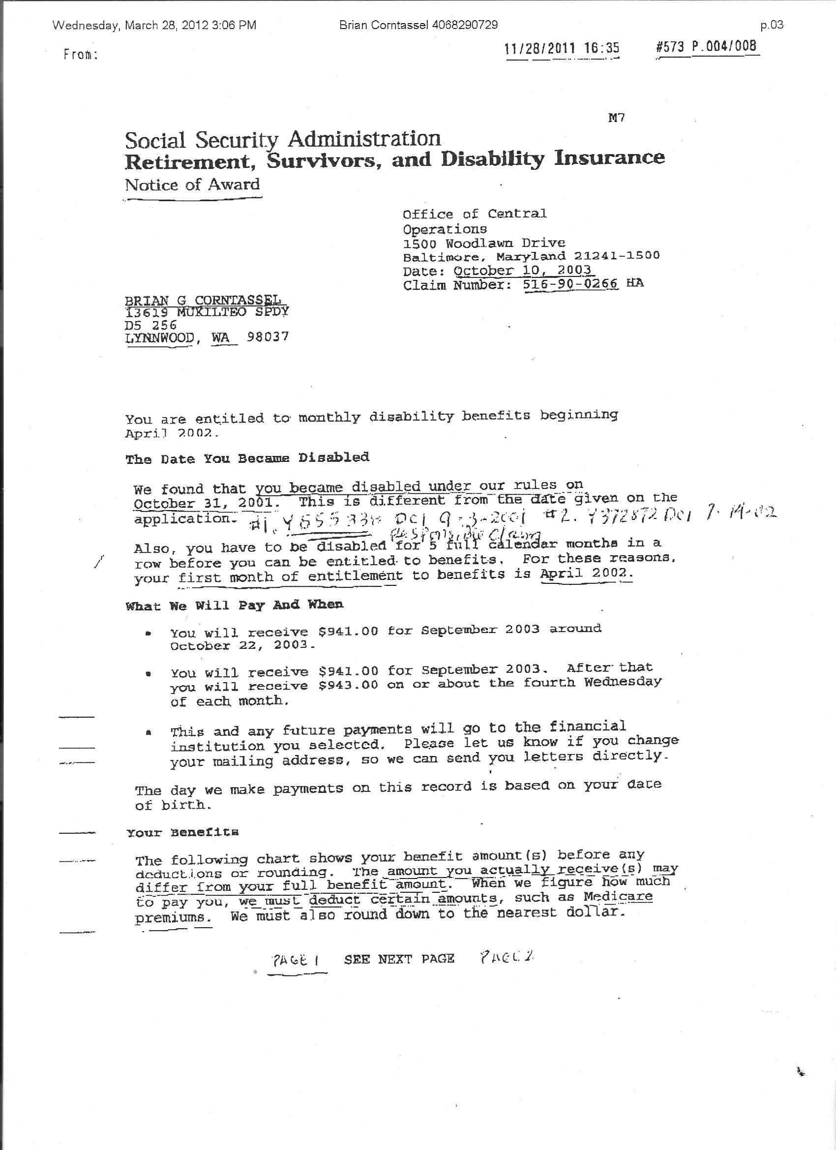 Social Security Award Letter Sample