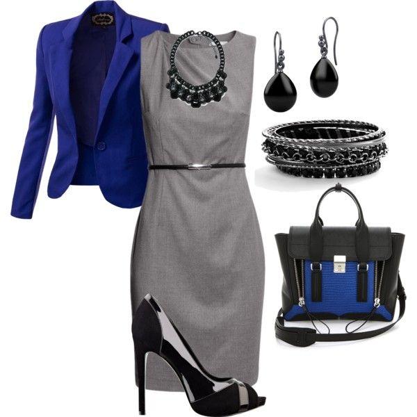 Blue dress black shoes grey
