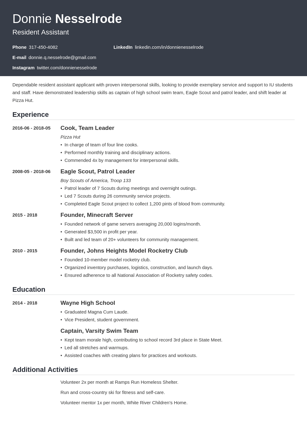 Resident Assistant Resume Example Template Influx Resume Examples Sales Resume Examples Sales Resume