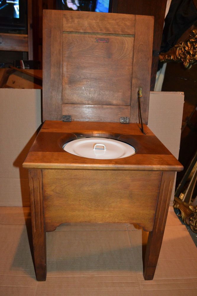 antique Vtg Chamber Pot Wood Chair Commode Porcelain Potty Toilet ...