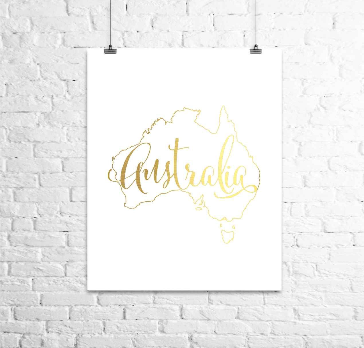 Australia gold map print gold foil print gold foil art print home town