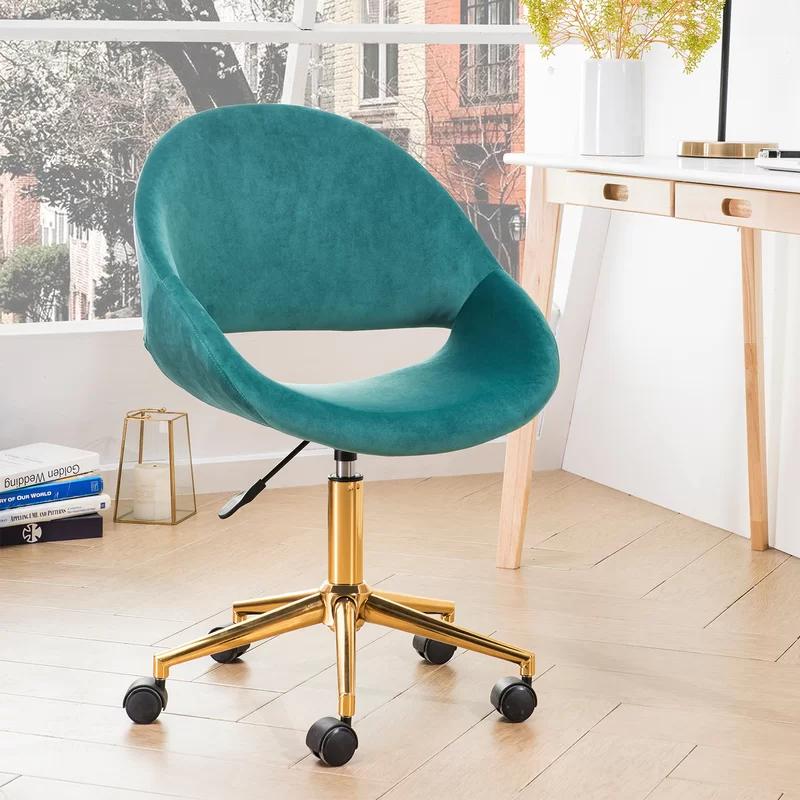 Albaugh Velvet Task Chair Cute Desk Chair Velvet Office Chair