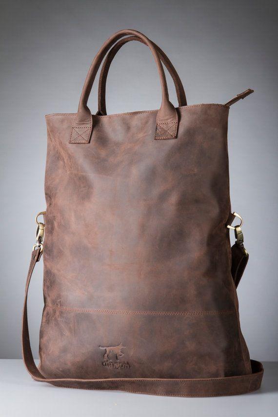 3324f0ef98 Large foldover purse - bag with long handle - long tote - crossbody tote -  big messenger bag - dark leather bag - large long tote