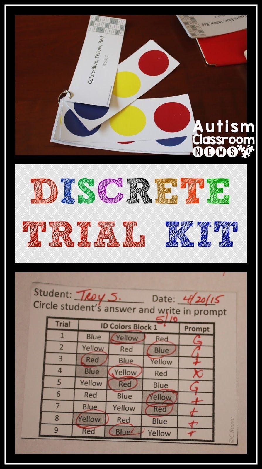 Discrete Trial Kit And A Free Sampler Discrete Trial Discrete Trial Training Autism Classroom