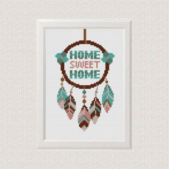 Home sweet home cross stitch pattern dreamcatcher, native american ...