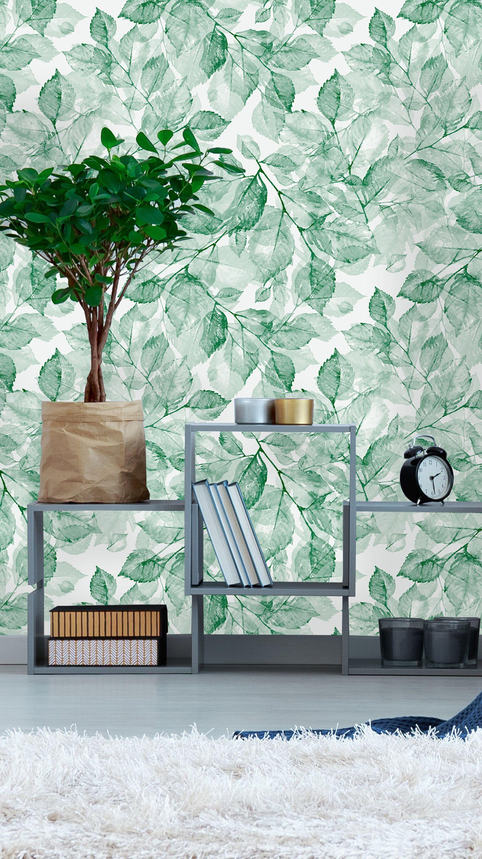Removable Wallpaper Self Adhesive Wallpaper Green Watercolor Leaves Peel Stick Wallpaper Wallpaper Peel And Stick Wallpaper Watercolor Leaves