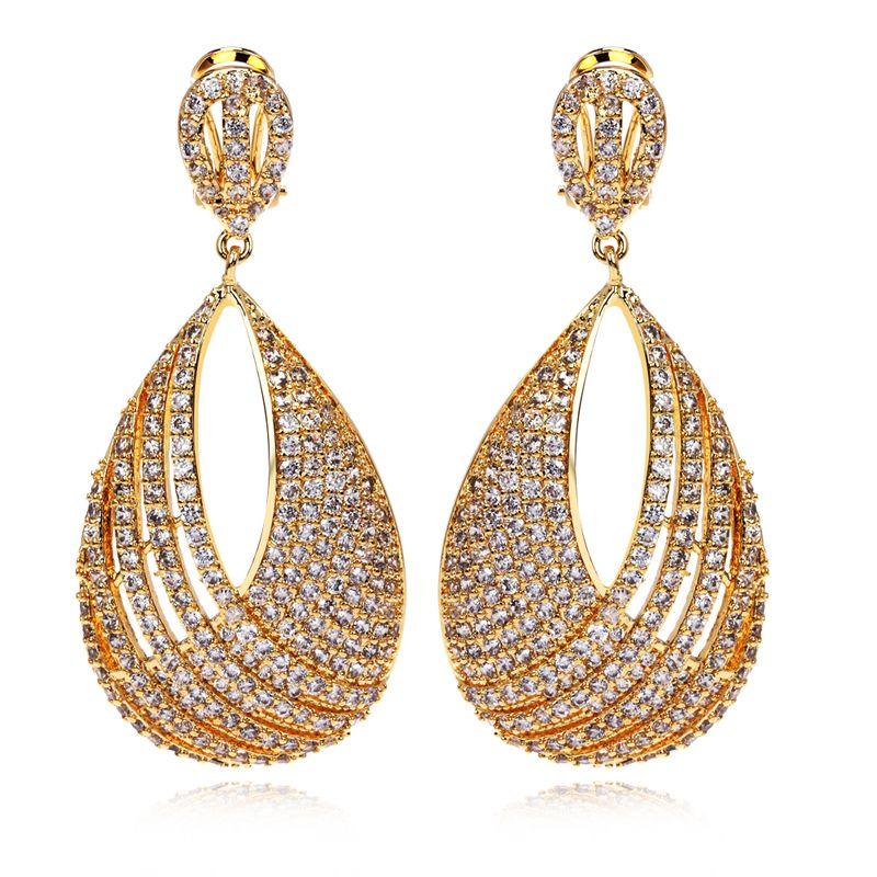 Latest Beautiful Women\'s Luxury CZ Drop Earrings Top Quality Setting ...