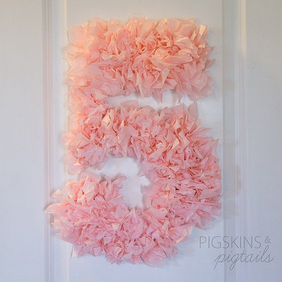 Tissue Paper Number 5 5th Birthday Party Decor Shabby Chic For Fifth