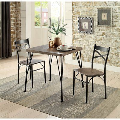 Laurel Foundry Modern Farmhouse Guertin 3 Piece Dining Set